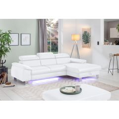 Balts dīvāns ar LED gaismu