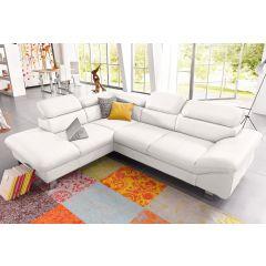 Dīvāns balts no ādas