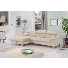 Bēšs stūra dīvāns kreisais stūris