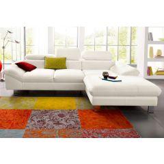 Balts ādas stūra dīvāns