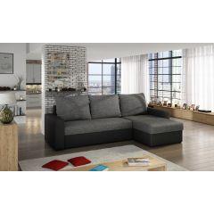 Stūra dīvāns pelēks ar melnu