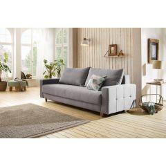 pelēks dīvāns ar koka kājām