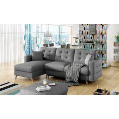 Pelēks stūra dīvāns ar koka kājām