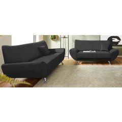 Melns eco ādas dīvānu komplekts