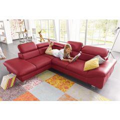 Sarkans ādas stūra dīvāns ar regulējamiem galvas balstiem we furniture