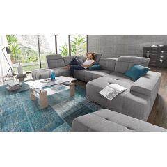 Zaļš liels stūra dīvāns ar diviem stūriem